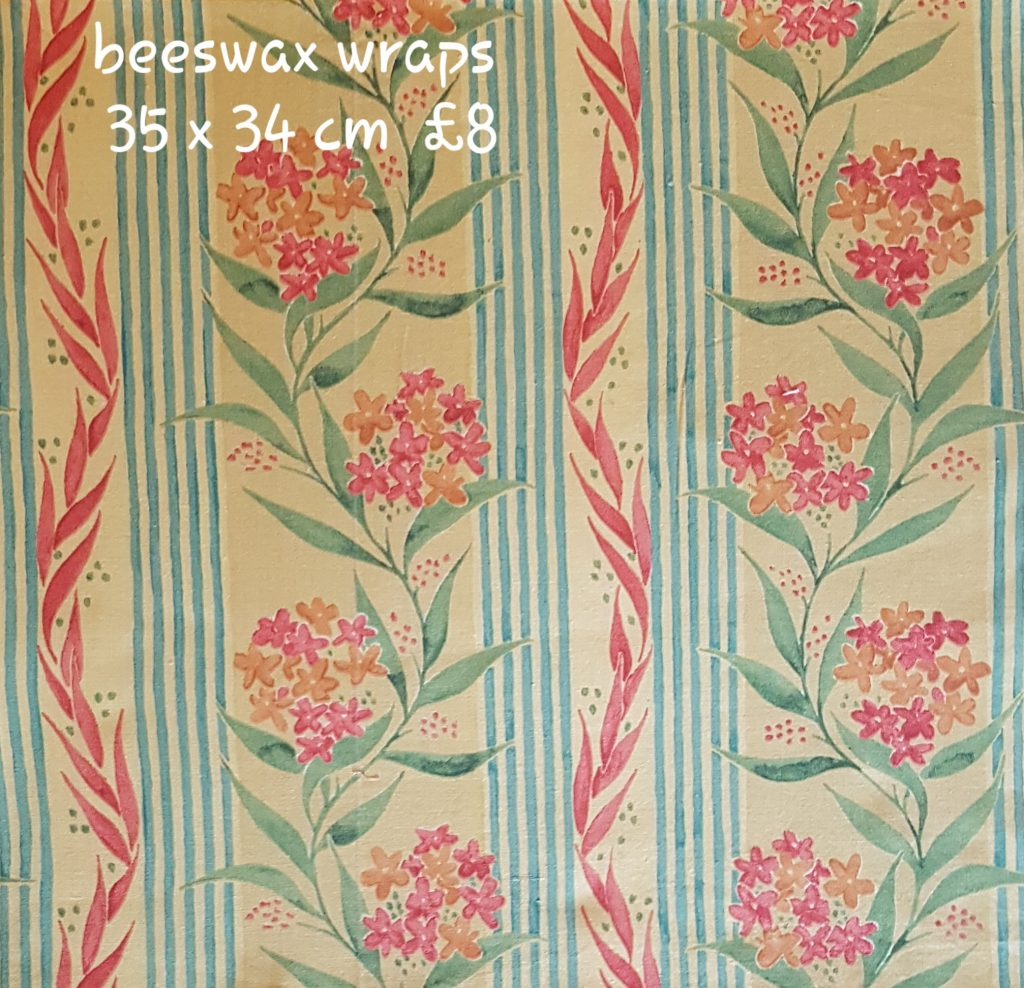 Peach Green flowers and stripes 35 x 34 cm beeswax wrap