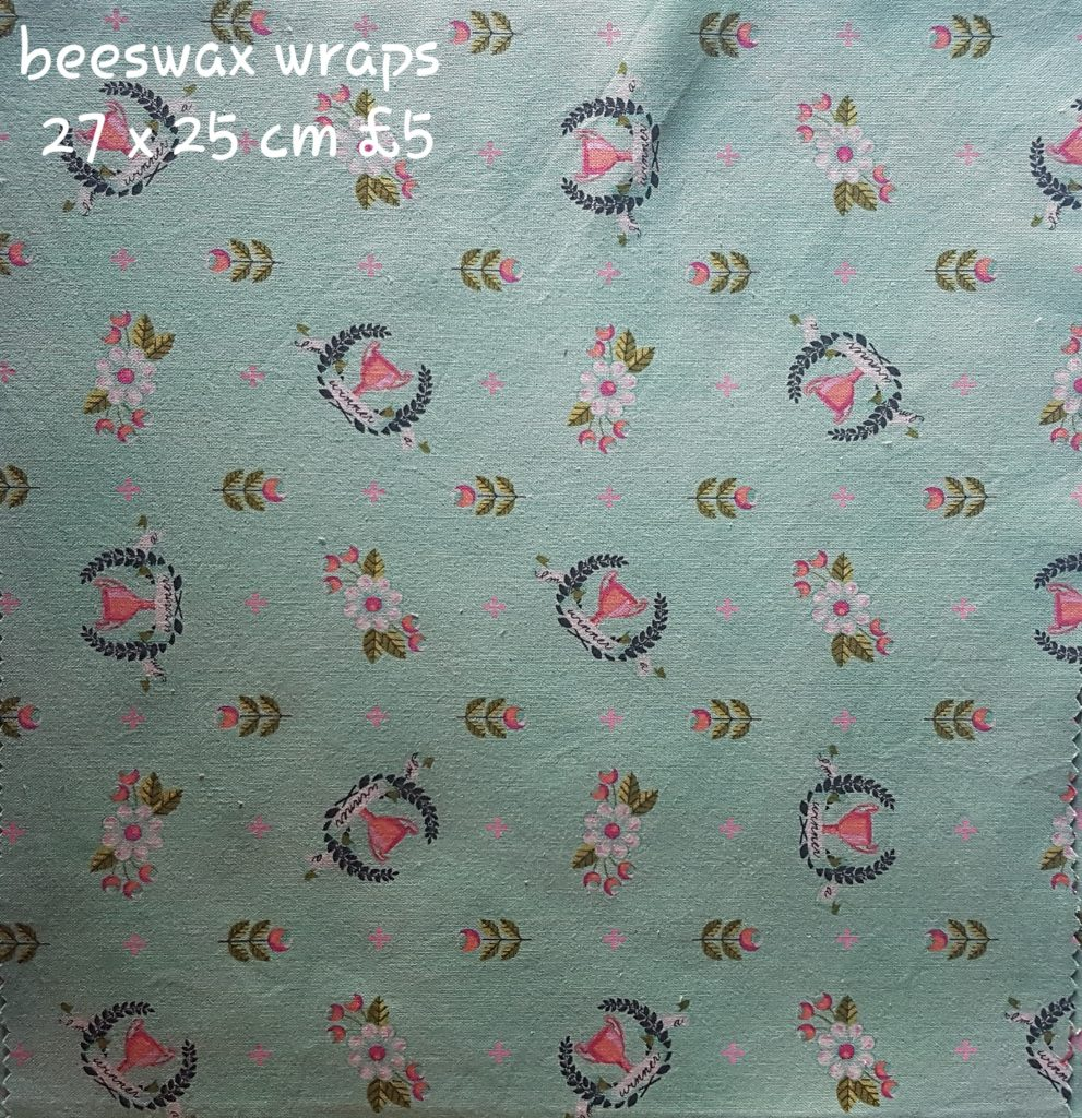 Green pink rosettes beeswax wrap