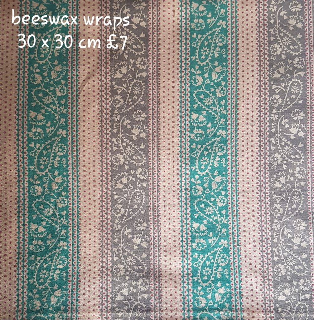 Greens Browns paisley stripe beeswax wrap
