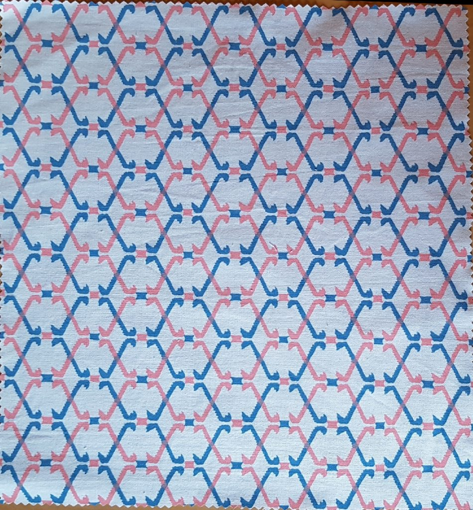 geometric blue pink white